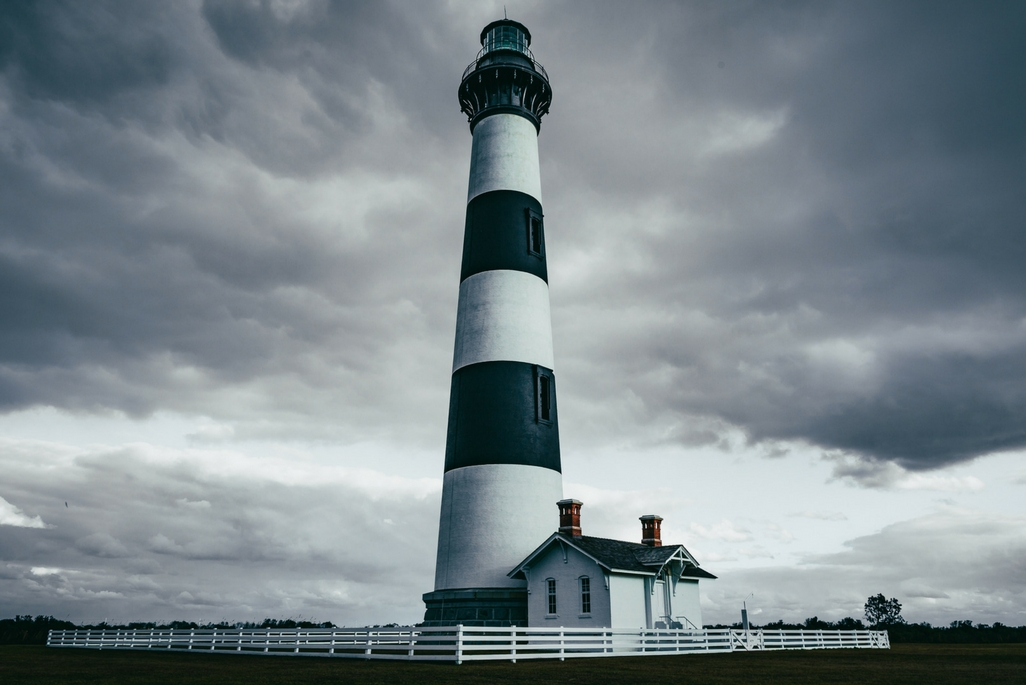 A cloudy day at Bodie Island Lighthouse on the Outer Banks of North Carolina