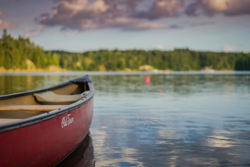 A canoe on a lake in Ohio