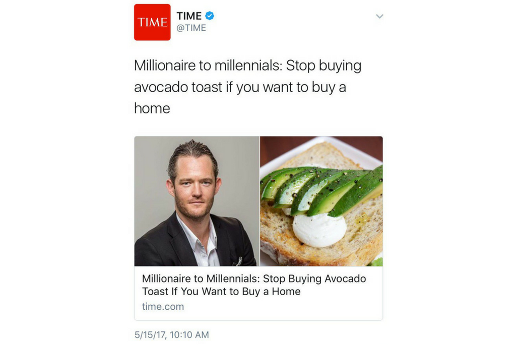 Meme: Millionaire to Millions. Stop buying avocado toast if you want to buy a home.