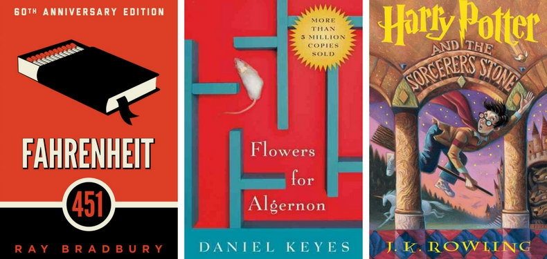 Book covers for Fahrenheit 451 by Ray Bradbury, Flowers for Algernon by Daniel Keyes, and Harry Potter and the Sorcerer's Stone by J. K. Rowling
