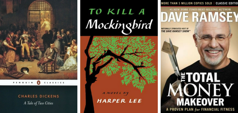 Book covers of A Tale of Two Cities by Charles Dickens, To Kill a Mockingbird by Harper Lee and The Total Money Makeover by Dave Ramsey