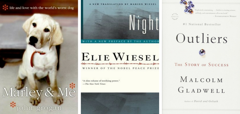 Book covers for Marley & Me by John Grogan, Night by Elie Wiesel, and Outliers by Malcolm Gladwell