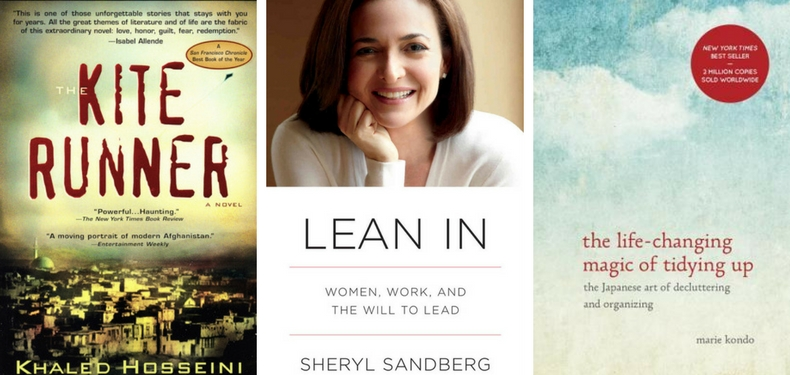 Book covers for The Kite Runner by Khaled Hosseini, Lean In by Sheryl Sandberg, The Life-Changing Magic of Tidying Up by Marie Kondo
