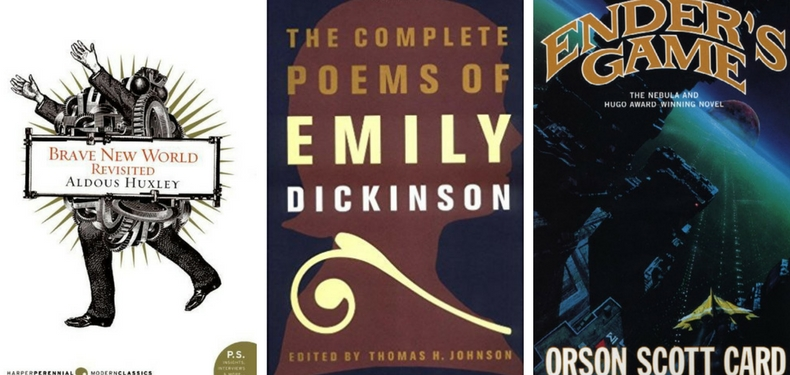 Book covers for Brave New World by Aldous Huxley, The Complete Poems of Emily Dickinson, and Ender's Game by Orson Scott Card