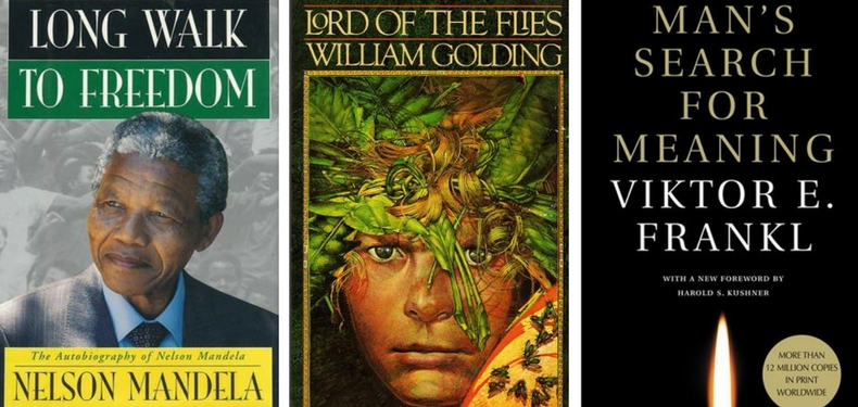 Book Covers for Long Walk to Freedom by Nelson Mandela, Lord of the Flies by William Golding, and Man's Search for Meaning by Viktor Frankl