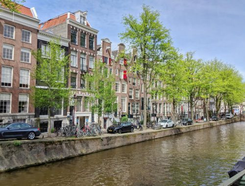 Amsterdam row houses and canal