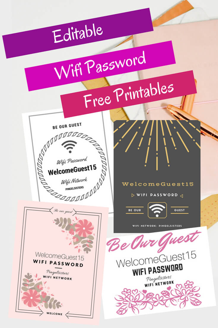 Get your free editable WIFI password printables instantly