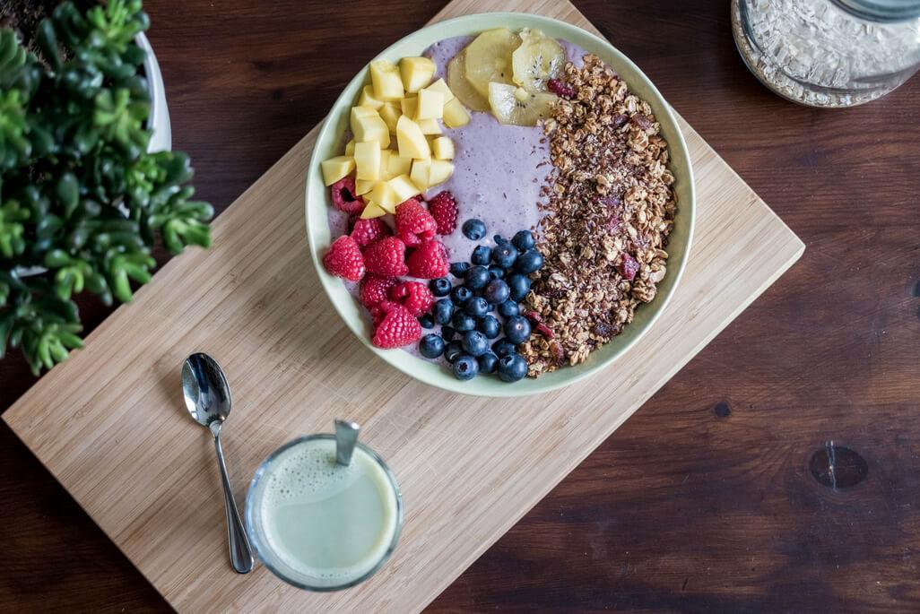 blueberry yogurt with fruit and granola