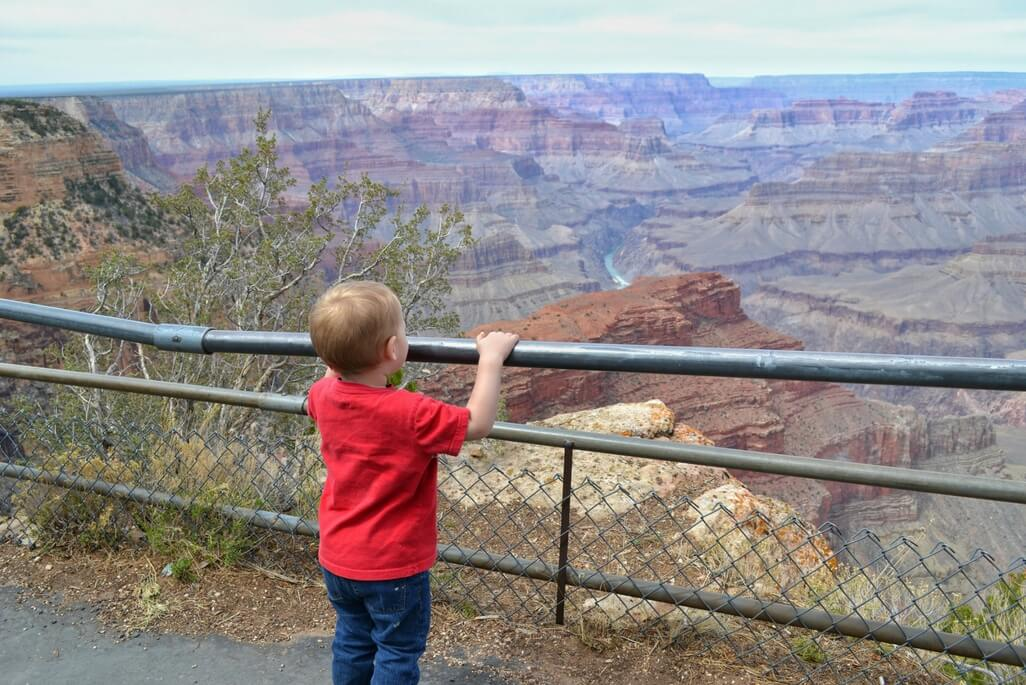 Toddler boy looking at the view at Grand Canyon National Park