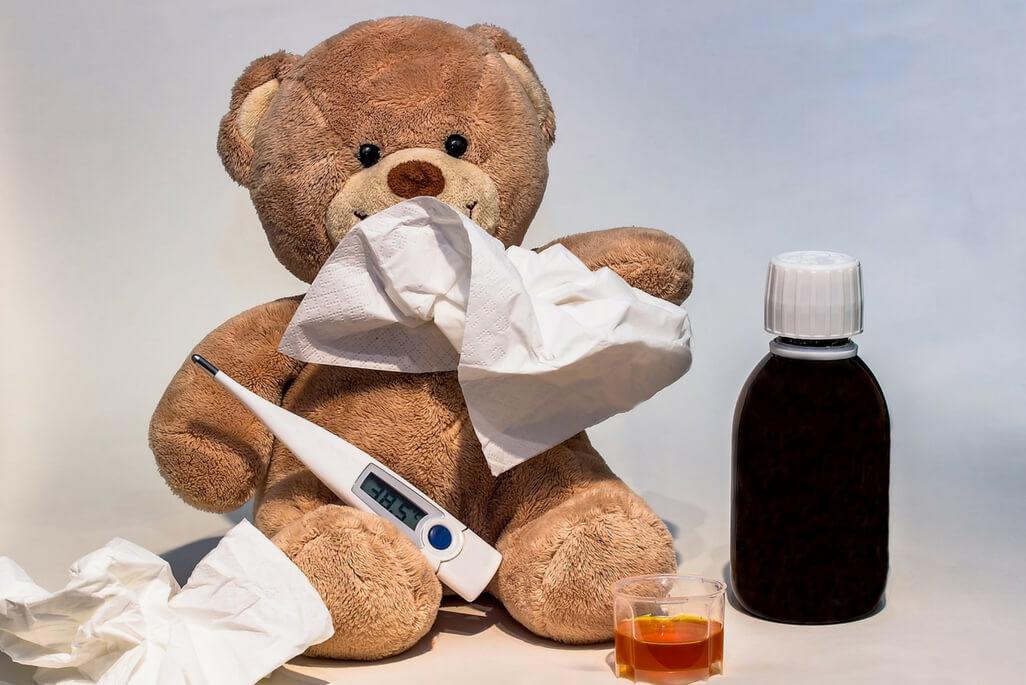 teddy bear with cold medicine