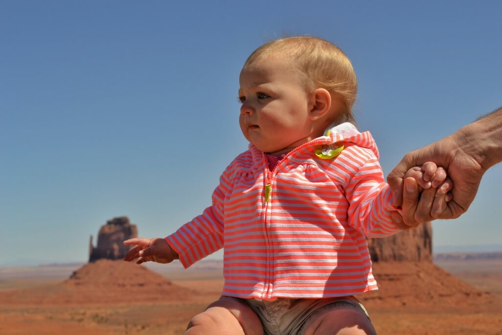 baby girl at Monument Valley Visitor Center