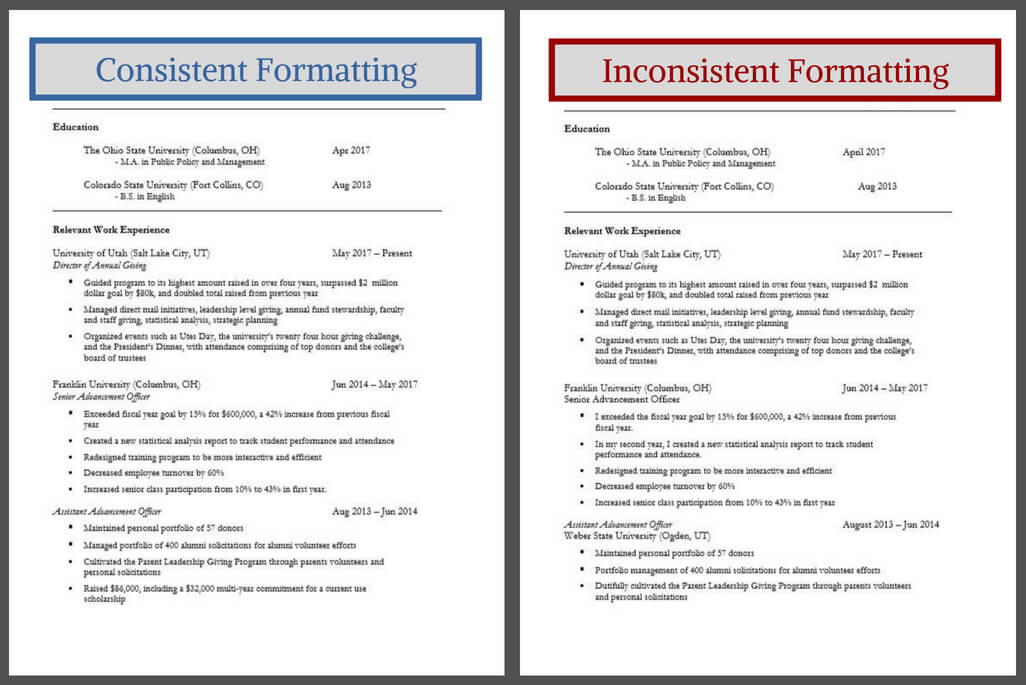 Consistent Formatting on Resume vs Inconsistent Formatting on Resume