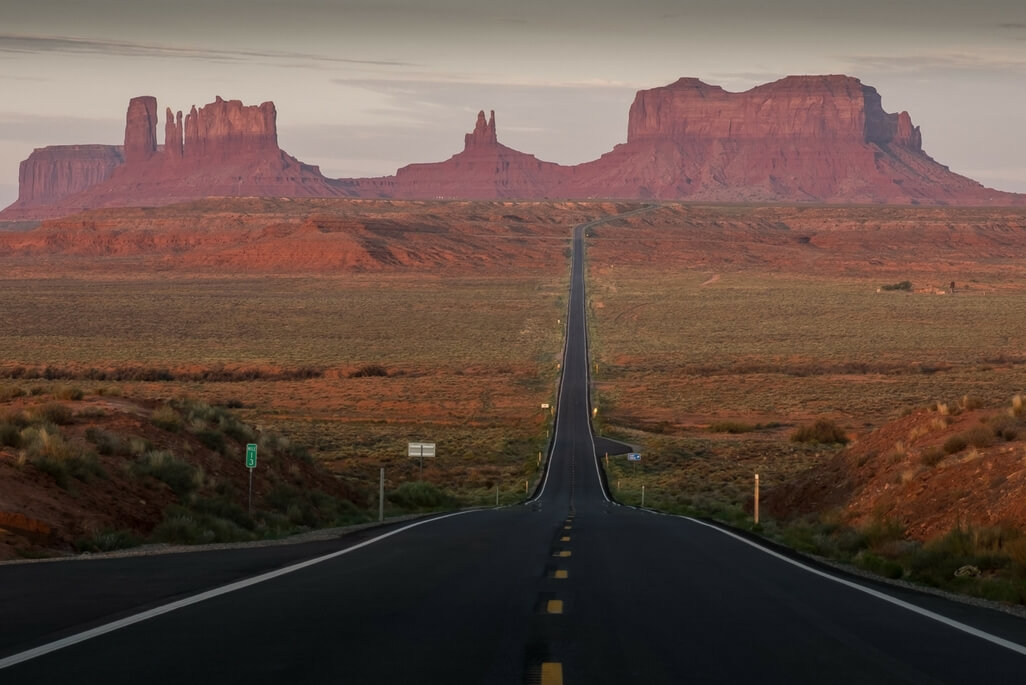 road into Monument Valley at dusk