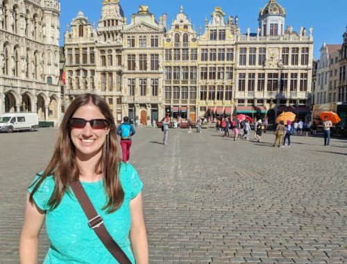 A Walking Tour of Brussels - Rachael at Grand-Place in Brussels, Belgium