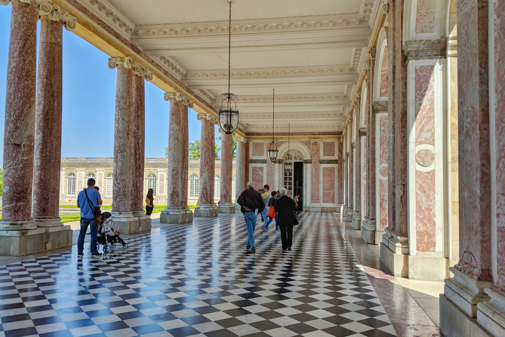 A Weekend in Paris: pink marble columns at the Grand Trianon at the Palace of Versailles, Paris, France