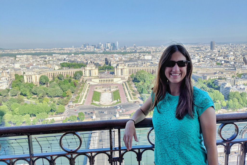 A Weekend in Paris: Woman on Eiffel Tower with view of Trocadero