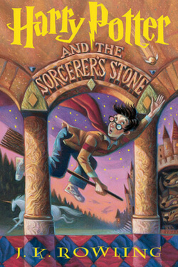 book cover for Harry Potter and the Sorcerer's Stone by J. K. Rowling