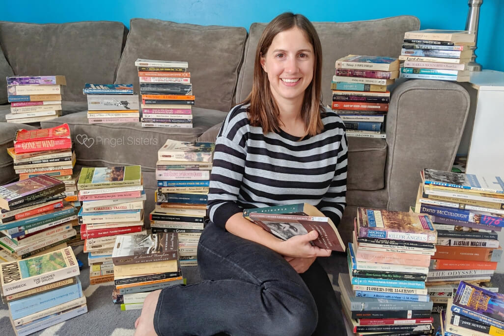 Rachael surrounded by books