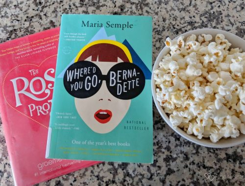 books and bowl of popcorn