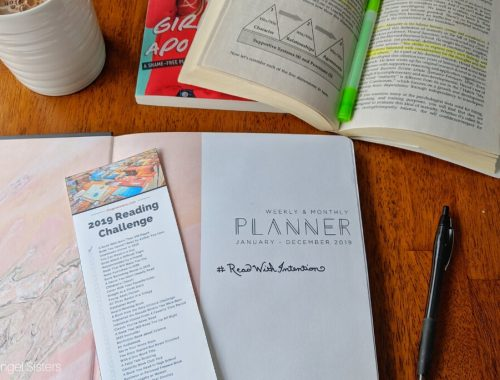 reading challenge, monthly planner, open book, highlighter, coffee mug
