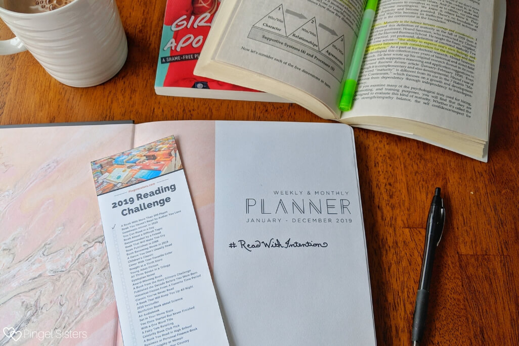 planner with 2019 theme: read with intention