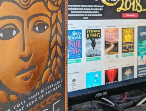 Circe + computer screen Goodreads Choice Awards