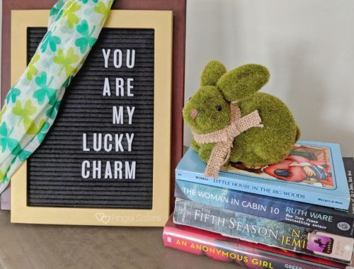 "Books, Green bunny, Letterboard saying ""You Are My Lucky Charm"""