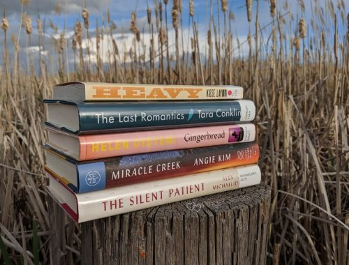 book stack, cattails